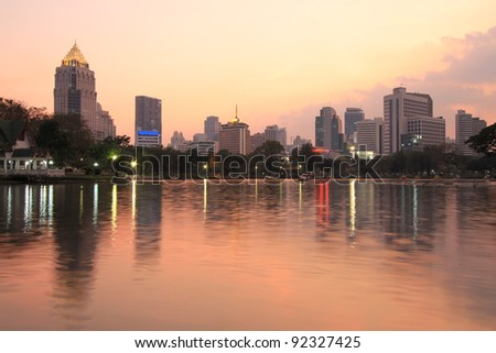 Night view of Bangkok from Lumpini Park, Thailand.