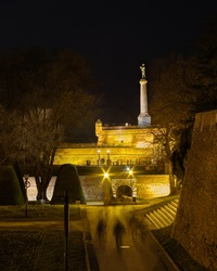 Night view of Belgrade Fortress Kalemegdan, with Victor monument, dedicated to the First World War victory in Belgrade, Serbia