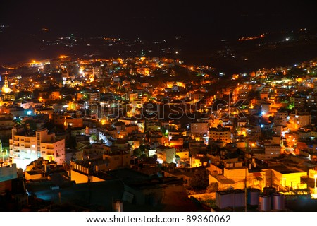 Night view of Bethlehem, Palestine, Israel