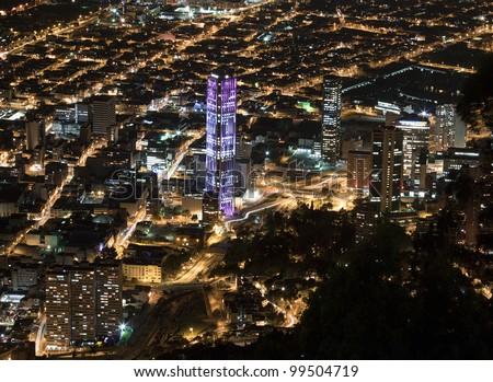 Night view of Bogota - stock photo