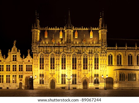 "Night view of  Bourg square ""Place du Bourg"", Bruges. Belgium"