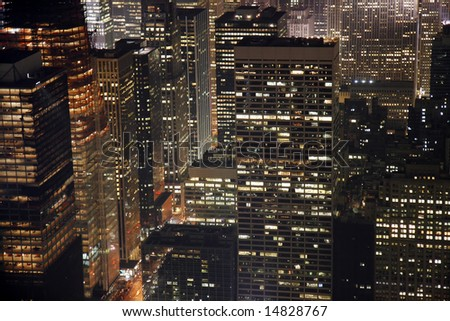 Night view of buildings in Midtown Manhattan in New York City.