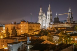 Night View of Buildings in Santiago de Compostela Old Historic Center and the UNESCO World Heritage Cathedral on the Way of St James Pilgrim Trail Camino de Santiago