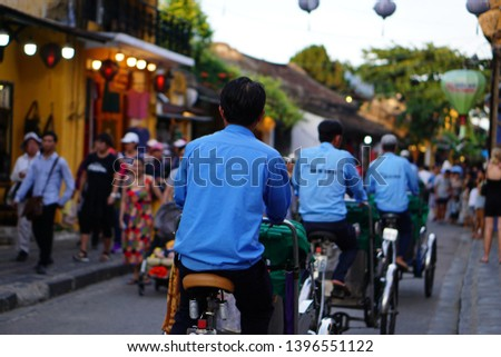 Night view of busy street in Hoi An, Vietnam. Hoi An is the World's Cultural heritage site, famous for mixed cultures and architecture. #1396551122