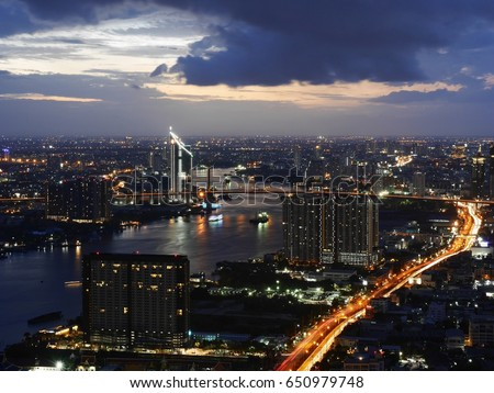 Night view of chao phraya river and rama 3 road #650979748