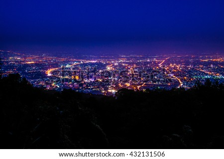 Night view of Chiangmai province,Thailand. #432131506