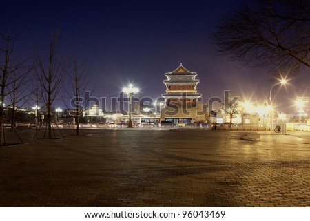 night view of Chinese tower building,beijing China