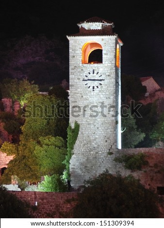 night view of Clock Tower in the old fortress of Bar, Montenegro