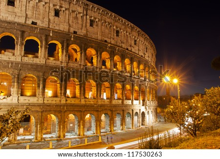 Night view of Colosseum in Rome, Italy.