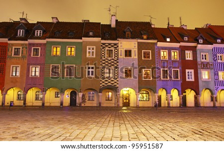 Night view of colourful houses in Old Market Square in Poznan, Poland
