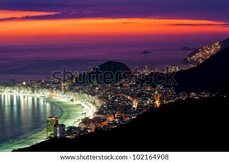 Night view of Copacabana beach in Rio de Janeiro - stock photo