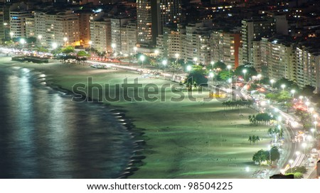 Night view of Copacabana beach. Rio de Janeiro. Brazil. - stock photo