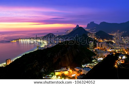Night view of Copacabana beach, Urca and Botafogo in Rio de Janeiro - stock photo