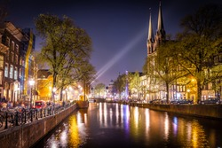 Night view of De Krijtberg Church in Amsterdam, Netherlands