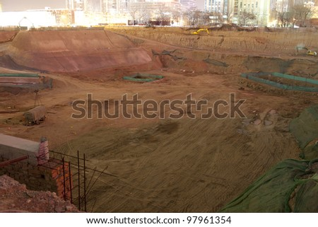 night view of deep construction field at beijing city,china - stock photo