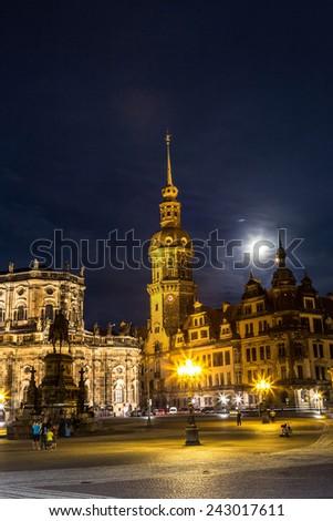 Night view of Dresden. Beautiful summer night