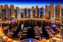Night view of Dubai Marina taken from where yacht club which is demolished now used to be.