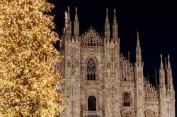 Night view of Duomo cathedral and christmas lights, Milan, Lombardy, Italy