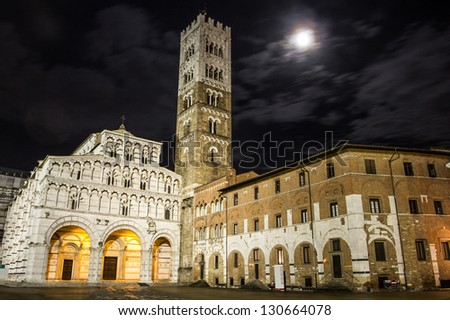 Night view of Duomo of Lucca. Tuscany.