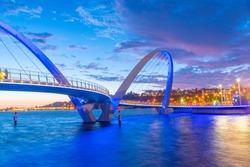 Night view of Elizabeth Quay Bridge in Perth, Australia