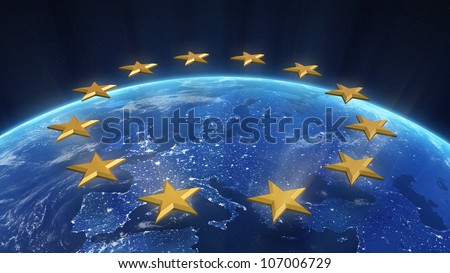 Night view of Europe with visible city lights - stock photo