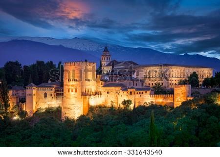 Night View of Famous Alhambra, European travel landmark, Spain #331643540