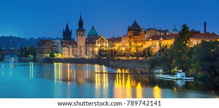 Night view of famous european Prague city - the capital of Czech republic with reflection in river Vltava #789742141