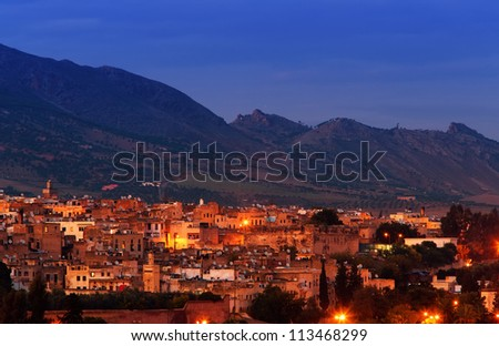 Night view of Fez, Morocco's oldest city