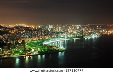 Night view of Flamengo beach and district in Rio de Janeiro