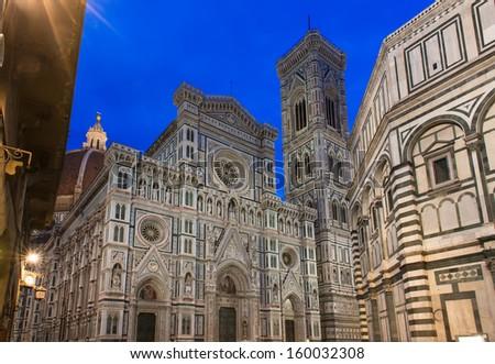 Night view of Florence Cathedral (Duomo - Basilica di Santa Maria del Fiore), Campanile of Giotto. Italy Stock photo ©