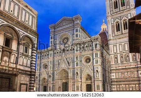 Night view of Florence Cathedral (Duomo) - Basilica di Santa Maria del Fiore , Campanile of Giotto. Italy Stock photo ©