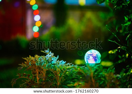 Night View Of Flowerbed Illuminated By Energy-Saving Solar Powered Colorful Multi-colored Lantern On Yard. Beautiful Small Garden With Blue And Green Light, Lamp In Flower Bed. Garden Design Foto stock ©
