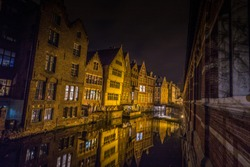 Night view of Ghent in Belgium