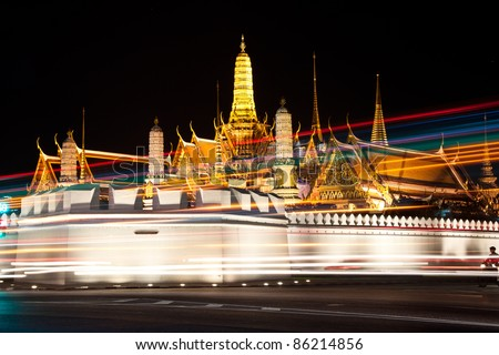 night view of grand palace in bangkok, thailand