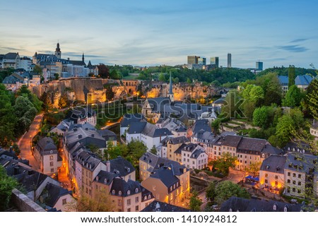 Night view of Grund and St John's Church from Ville Haute, Luxembourg City and Kirchberg.  Stock photo ©