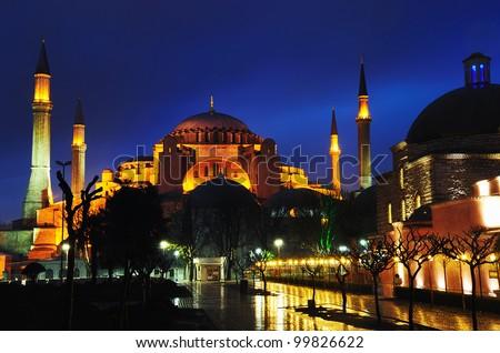 Night view of Hagia Sophia in Istanbul. - stock photo