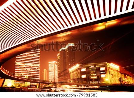 Night view of highway viaduct in Shanghai