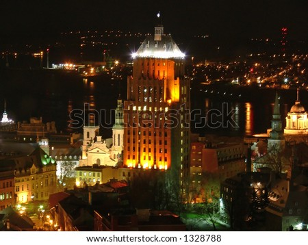 Night view of historic old Quebec City.