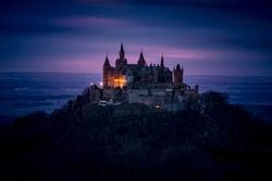 Night View of Hohenzollern Castle in the Swabian Alps - Baden-Wurttemberg, Germany
