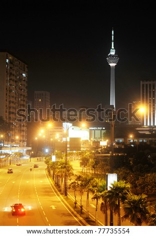 night view of Kuala Lumpur downtown with the KL Tower