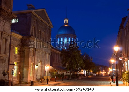 Night View of La Rue St-Paul in Old Montreal Bonsecours Market Dome in background