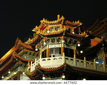 Night View of Large Temple -- a traditional temple seen in southern Taiwan