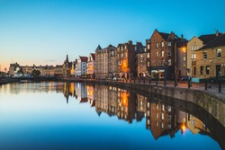 night view of leith at edinburgh, scotland, uk