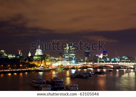 Night view of London, river Thames, St Paul's Cathedral