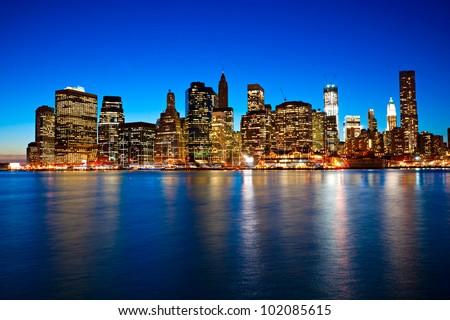 Night view of Manhattan, New York City. USA.