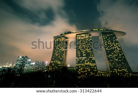 Night view of Marina Bay Sands in Singapore. #313422644