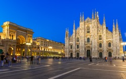 Night view of Milan Cathedral (Duomo di Milano), Vittorio Emanuele II Gallery and piazza del Duomo  in Milan, Italy