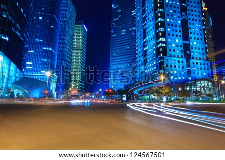 night view of modern street in shanghai financial district