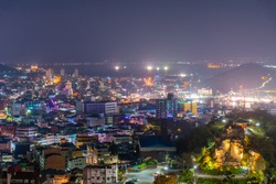 Night view of Mokposisa pavilion in Mokpo, Republic of Korea