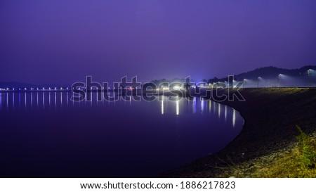 Night view of Mukut Manipur Dam on Kangsabati River. Purulia, West Bengal. Stock photo ©